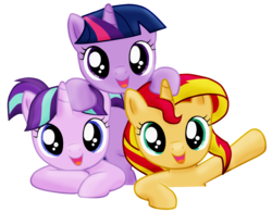 Size: 1157x904 | Tagged: artist:majkashinoda626, counterparts, cute, female, filly, filly starlight, filly sunset, filly twilight sparkle, glimmerbetes, hnnng, looking at you, magical trio, pony, safe, shimmerbetes, simple background, smiling, starlight glimmer, sunsetmajka626 is trying to murder us, sunset shimmer, transparent background, trio, twiabetes, twilight's counterparts, twilight sparkle, unicorn, weapons-grade cute, younger