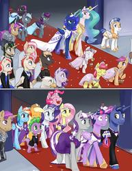Size: 1280x1656   Tagged: safe, artist:silfoe, apple bloom, applejack, fluttershy, night light, pinkie pie, princess celestia, princess luna, rainbow dash, rarity, scootaloo, spike, sweetie belle, twilight sparkle, twilight velvet, oc, oc:darkaito, oc:logic loop, oc:midnight moon, oc:milk drop, alicorn, bat pony, dragon, earth pony, pegasus, pony, unicorn, royal sketchbook, bouquet, bowtie, bridesmaid, bridesmaid dress, chair, clothes, cute, cutie mark crusaders, dress, eyes closed, family, female, floral head wreath, flower, glowing horn, grin, happy, hoof hold, lesbian, levitation, magic, male, mane six, mare, marriage, midnaito, nervous, night guard, open mouth, petals, raised hoof, royal guard, royal sisters, shipping, sitting, smiling, stallion, suit, sweat, telekinesis, twilight sparkle (alicorn), twiluna, walking, wedding, wedding dress, wide eyes