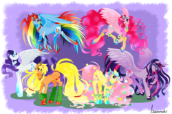Size: 1600x1067 | Tagged: alicorn, alicornified, applecorn, applejack, artist:linamomoko, everyone is an alicorn, fluttercorn, fluttershy, happy ending, leg warmers, mane six, mane six alicorns, pinkiecorn, pinkie pie, princess twilight, race swap, rainbowcorn, rainbow dash, raricorn, rarity, safe, simple background, transparent background, twilight sparkle, xk-class end-of-the-world scenario