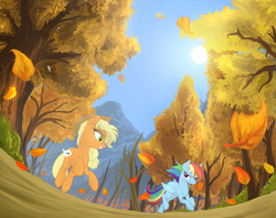 Size: 1500x1187 | Tagged: safe, artist:jaeneth, applejack, rainbow dash, earth pony, pegasus, pony, fall weather friends, autumn, duo, female, forest, grin, leaves, mare, mountain, number, running, running of the leaves, scene interpretation, smiling, tree