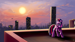Size: 1920x1080 | Tagged: alicorn, artist:gloomymark, city, commission, looking back, princess twilight, safe, scenery, solo, sunset, twilight sparkle