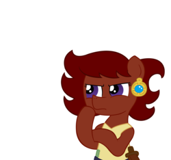 Size: 1500x1406 | Tagged: artist:ficficponyfic, belt, child, clothes, color, colt quest, cyoa, ear piercing, earring, earth pony, female, filly, foal, jewelry, knife, oc, oc only, oc:ruby rouge, piercing, safe, simple background, solo, story included, thinking, vector, white background
