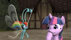Size: 1920x1080 | Tagged: safe, artist:jojobibou, rainbow dash, twilight sparkle, alicorn, breezie, pony, 3d, breeziefied, laughing, rainbow breez, species swap, twilight sparkle (alicorn)