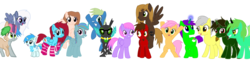Size: 2800x679 | Tagged: safe, artist:aureai, artist:toyminator900, oc, oc only, oc:andandampersand, oc:aureai gray, oc:autumn moon, oc:beauty cheat, oc:chip, oc:clever clop, oc:cyan lightning, oc:gadget apparatus, oc:mellow rhythm, oc:melody notes, oc:milo, oc:nahuelin, oc:osha, oc:screen gazer, oc:takengrin endmmar, oc:éling chang, alicorn, bat pony, bat pony alicorn, changeling, earth pony, merpony, pegasus, pony, unicorn, bat wings, bipedal, changeling loves watermelon, changeling oc, clothes, colt, eye scar, facial hair, fangs, floating, flying, food, glasses, glowing horn, goatee, grin, happy, heterochromia, looking at each other, looking at you, looking down, looking up, magic, male, medallion, moustache, open mouth, raised hoof, raised leg, scar, scarf, simple background, smiling, socks, spread wings, sunglasses, transparent background, watermelon, wings