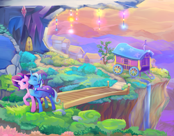 Size: 2100x1650 | Tagged: safe, artist:viwrastupr, starlight glimmer, trixie, pony, beautiful, bridge, cape, castle, clothes, color porn, colored pupils, duo, duo female, eyes closed, female, friends, hat, lidded eyes, ponyville, raised hoof, scenery, scenery porn, smiling, trixie's cape, trixie's hat, trixie's wagon