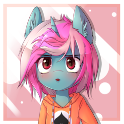 Size: 650x650 | Tagged: safe, artist:hoodie, oc, oc only, oc:card sadic, pony, semi-anthro, abstract background, bust, clothes, collar, ear fluff, hoodie, looking at you, open mouth, solo