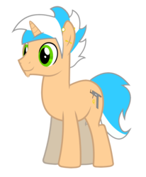 Size: 1084x1315 | Tagged: artist:justisanimation, chin fluff, cutie mark, ear piercing, facial hair, goatee, male, oc, oc:creamy pinch, oc only, piercing, pony, safe, simple background, smiling, solo, stallion, transparent background, unicorn, vector