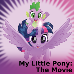 Size: 1024x1024 | Tagged: safe, artist:cheezedoodle96, spike, twilight sparkle, alicorn, dragon, pony, derpibooru, my little pony: the movie, .svg available, dragons riding ponies, duo, female, flying, gradient background, male, mare, meta, official spoiler image, riding, spoilered image joke, svg, twilight sparkle (alicorn), vector, windswept mane