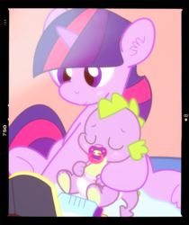 Size: 1245x1480 | Tagged: safe, artist:lemonthyme, spike, twilight sparkle, dragon, pony, unicorn, baby bottle, baby dragon, baby spike, blush sticker, blushing, book, bottle, cute, diaper, female, filly, filly twilight sparkle, male, mama twilight, mother and child, pacifier, paw pads, photography, reading, spikabetes, spikelove, twiabetes, unicorn twilight
