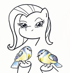 Size: 1428x1491   Tagged: safe, artist:potatobug, derpibooru exclusive, fluttershy, bird, great tit, chickadee (bird), female, looking at you, partial color, pun, simple background, smiling, solo, traditional art, visual pun, white background