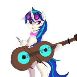 Size: 1000x1000 | Tagged: alternate hairstyle, artist:jbond, artist:lumineko, bipedal, bowtie, cello, derpibooru exclusive, dj pon-3, edit, fusion, glasses, musical instrument, octavia melody, painting, pony, recolor, safe, tavified, tongue out, vinyl scratch