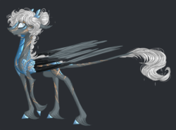 Size: 1777x1316 | Tagged: safe, artist:australian-senior, alicorn, kirin, pony, kirindos, alternate universe, antlers, colored hooves, crossover, gray background, leonine tail, portal, portal (valve), portal 2, scales, scar, simple background, solo, unshorn fetlocks, wheatley