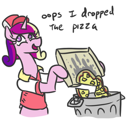 Size: 520x491 | Tagged: safe, artist:jargon scott, princess cadance, alicorn, pony, bipedal, cadance's pizza delivery, clothes, dialogue, female, food, hat, hoof hold, into the trash it goes, looking back, mare, oops, open mouth, pineapple, pineapple pizza, pizza, simple background, smiling, solo, trash can, uniform, white background