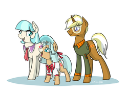 Size: 2000x1443 | Tagged: safe, artist:cihiiro, coco pommel, trenderhoof, oc, oc:yvonne saint-laurtrend, pony, crack shipping, female, filly, male, offspring, parent:coco pommel, parent:trenderhoof, parents:trenderpommel, shipping, straight, trenderpommel