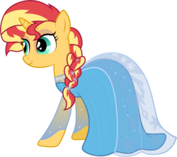 Size: 1127x1001 | Tagged: safe, artist:cloudyglow, sunset shimmer, pony, clothes, clothes swap, contrast, cosplay, costume, cute, disney, dress, elsa, female, frozen (movie), irony, not fiery shimmer, simple background, smiling, solo, transparent background, vector