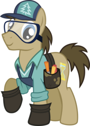 Size: 711x994 | Tagged: artist:pacificgreen, cap, clothes swap, doctor whooves, douglas spruce, evergreen, goggles, hat, hoof shoes, pony, safe, safety goggles, simple background, solo, time turner, toolbelt, transparent background, vector, voice actor joke