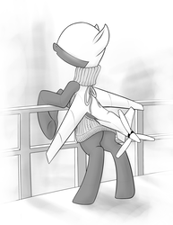 Size: 3160x4100 | Tagged: safe, artist:alignac, oc, oc only, original species, plane pony, pony, predator drone, absurd resolution, backless, blushing, clothes, drone, monochrome, open-back sweater, plane, plane ponies, sleeveless sweater, solo, sweater, virgin killer sweater