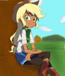 Size: 561x654 | Tagged: applejack, artist:baekgup, boots, clothes, colored, colored background, cowboy boots, cowboy hat, crossed legs, cute, dark skin, edit, editor:rmzero, female, food, hat, human, humanized, jackabetes, pantyhose, safe, sitting, solo