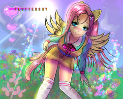 Size: 1340x1080 | Tagged: safe, artist:sonamy94fan, fluttershy, anthro, blushing, clothes, dress, flower, looking at you, panties, skirt, smiling, socks, solo, thigh highs, underwear, upskirt, white underwear