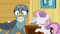 Size: 1920x1090 | Tagged: safe, screencap, gabby, sweetie belle, griffon, pony, unicorn, the fault in our cutie marks, eyes closed, shocked, shrunken pupils