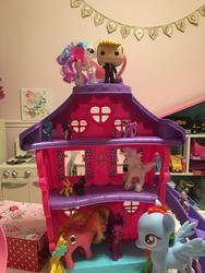 Size: 864x1152   Tagged: safe, princess celestia, rainbow dash, rarity, twilight sparkle, alicorn, earth pony, pegasus, pony, unicorn, g1, g4, blind bag, doll house, donald trump, female, figurine, generic pony, heart, irl, mare, photo, toy, twilight sparkle (alicorn)