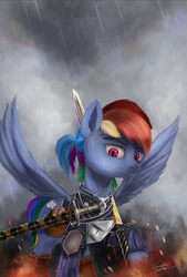 Size: 1800x2665 | Tagged: safe, artist:cattle32, rainbow dash, pegasus, pony, alternate hairstyle, armor, female, fire, rain, raised hoof, serious, serious face, signature, slit eyes, solo, spread wings, sword, the witcher, weapon, wings