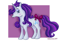 Size: 550x379   Tagged: safe, artist:babyananas, rarity, g1, bow, female, g4 to g1, generation leap, solo, tail bow