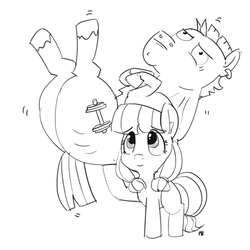 Size: 1280x1278 | Tagged: safe, artist:pabbley, bulk biceps, lily longsocks, earth pony, pony, background pony, female, filly, grayscale, lifting, male, monochrome, simple background, stallion, strong, super strength, white background