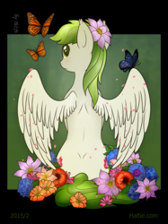 Size: 3442x4597 | Tagged: absurd res, artist:haltie, butterfly, flower, oc, oc only, pony, safe, solo, tengwar