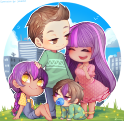 Size: 905x883 | Tagged: safe, artist:kitsuneanii, twilight sparkle, oc, oc:ben parker sparkle, oc:mayday parker sparkle, human, ankle bracelet, barefoot, binky, blushing, brother and sister, chibi, city, clothes, crossover, crossover shipping, cute, daughter, dress, family, father and daughter, father and son, feet, grass, hand on head, happy, humanized, humanized oc, jewelry, male, married couple, mother and daughter, mother and son, offspring, pacifier, parent:peter parker, parent:twilight sparkle, parents:spidertwi, peter parker, shipping, siblings, son, spider-man, spiders and magic: rise of spider-mane, spidertwi, straight, sundress