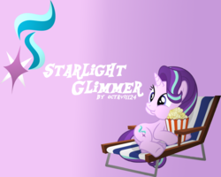 Size: 1280x1024 | Tagged: artist:octavi1124, chair, food, gradient background, lawn chair, popcorn, puffy cheeks, safe, solo, starlight glimmer, wallpaper