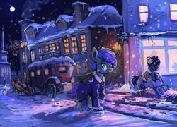 Size: 1280x922 | Tagged: safe, artist:agm, oc, oc only, oc:nebula wings, bat pony, earth pony, pegasus, pony, carriage, clothes, coat, snow, street