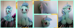 Size: 7000x2662 | Tagged: safe, artist:joltage, lyra heartstrings, absurd resolution, bed, bedroom eyes, irl, life size, photo, plushie