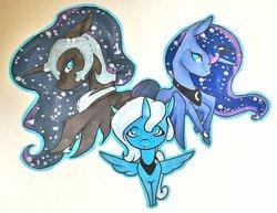 Size: 1024x791 | Tagged: safe, artist:oneiria-fylakas, nightmare moon, princess luna, bust, lunar trinity, portrait, s1 luna, traditional art, triality