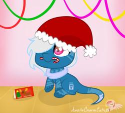 Size: 1024x920 | Tagged: safe, artist:raspberrystudios, oc, oc only, pony, big eyes, candy, candy cane, chibi, christmas, christmas card, cute, food, hat, long tail, male, santa hat, sitting, smolpone, solo, stallion, streamers