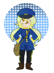 Size: 1024x1390   Tagged: safe, artist:cubbybatdoodles, derpy hooves, human, abstract background, clothes, humanized, mailmare, simple background, solo, transparent background, uniform