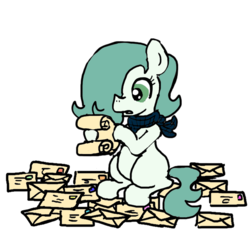 Size: 640x600   Tagged: safe, artist:ficficponyfic, color edit, edit, oc, oc only, oc:emerald jewel, earth pony, pony, colt quest, bandana, child, color, colored, colt, concerned, femboy, foal, hair over one eye, letter, mail, male, monochrome, reading, scroll, solo