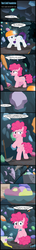 Size: 1393x9552 | Tagged: artist:toxic-mario, cave, comic, dialogue, female, filly, filly pinkie pie, filly rarity, food, helmet, ice cream, pickaxe, pinkie pie, rarity, rock, safe, stone