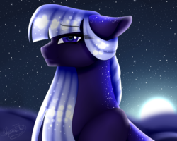 Size: 2000x1600 | Tagged: artist:asembr-a, female, mare, moon, night, oc, oc:deep sky, oc only, pony, safe, solo