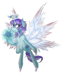 Size: 1568x1812 | Tagged: alicorn, alicorn oc, angel, artist:beardie, blood, commission, ice, multiple wings, oc, oc:jackie frost, oc only, pony, safe, seraph, seraphicorn, simple background, solo, transparent background