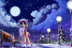 Size: 3000x2000   Tagged: safe, artist:nemo2d, fluttershy, pegasus, pony, beanie, bench, boots, box, clothes, cloud, cloudy, female, folded wings, full moon, hat, lamppost, looking away, looking up, moon, night, pine tree, present, scarf, scenery, snow, snowfall, solo, standing, starry night, stars, street, streetlight, tree, winter, winter outfit