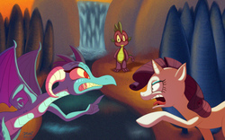 Size: 1224x765 | Tagged: safe, artist:megadrivesonic, princess ember, rarity, spike, dragon, pony, unicorn, gauntlet of fire, angry, argument, catfight, emberspike, jealous, looking at each other, male, open mouth, pointing, sharp teeth, shipping, shipping war, shrunken pupils, sparity, spike gets all the mares, spread wings, straight, teeth