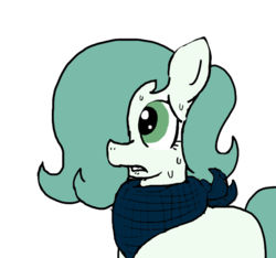 Size: 640x600   Tagged: safe, artist:ficficponyfic, color edit, edit, oc, oc only, oc:emerald jewel, earth pony, pony, colt quest, bandana, blank flank, child, color, colored, colt, femboy, foal, hair over one eye, lip bite, male, nervous, solo, sweat, worried