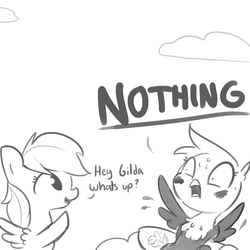 Size: 1080x1080 | Tagged: artist:tjpones, blushing, body pillow, caught, cloud, denial, dialogue, embarrassed, gilda, griffon, hiding, implied gildash, implied lesbian, pegasus, pony, rainbow dash, raised hoof, safe, simple background, white background