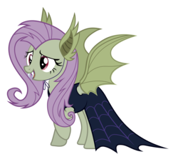 Size: 3356x3092 | Tagged: artist:kigupony, bat ears, clothes, costume, fake wings, fangs, flutterbat costume, fluttershy, open mouth, pony, safe, scare master, simple background, solo, transparent background, vector