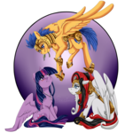 Size: 1024x1024 | Tagged: safe, artist:crecious, flash sentry, twilight sparkle, oc, oc:bridle timeout, alicorn, pony, canon x oc, mistletoe, polyamory, shipping, simple background, transparent background, twilight sparkle (alicorn)