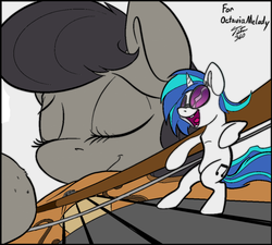 Size: 1024x922 | Tagged: artist:tsitra360, bow (instrument), colored sketch, dj pon-3, edit, giant pony, macro, micro, octavia melody, pony, safe, size difference, smiling, vinyl scratch, violin, violin bow