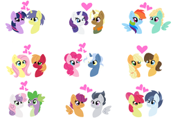 Size: 6112x4552 | Tagged: safe, artist:mississippikite, apple bloom, applejack, big macintosh, caramel, comet tail, fluttershy, pinkie pie, pokey pierce, rainbow dash, rarity, rumble, scootaloo, shady daze, spike, sweetie belle, trenderhoof, twilight sparkle, zephyr breeze, alicorn, dragon, pony, absurd resolution, carajack, cometlight, fluttermac, heart, male, pokeypie, rumbloo, shadybloom, shipping, simple background, spikebelle, straight, trenderity, twilight sparkle (alicorn), white background, zephdash
