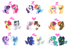 Size: 6520x4576 | Tagged: absurd res, alicorn, apple bloom, applejack, appleshy, artist:mississippikite, button mash, changeling, chryslestia, derpy hooves, earth pony, female, fluttershy, lesbian, lunaderp, male, mane six, pegasus, pinkie pie, pipsqueak, pony, princess celestia, princess luna, queen chrysalis, rainbow dash, raridash, rarity, rumble, rumbloom, safe, scootaloo, scootamash, shipping, simple background, starlight glimmer, startrix, straight, sweetie belle, sweetiesqueak, trixie, twilight sparkle, twilight sparkle (alicorn), twinkie, unicorn, white background