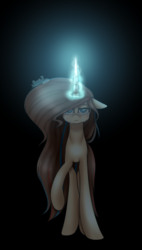 Size: 695x1224 | Tagged: artist:punzieflower2002, crying, female, glowing horn, mare, oc, oc only, pony, safe, solo, unicorn